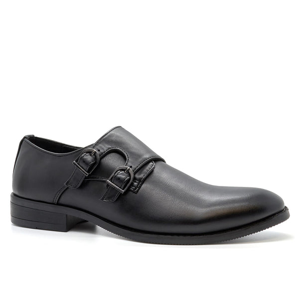 Black Derby Double Monk Shoes