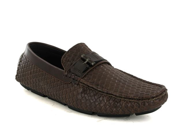 Brown Woven Style Driving Shoes