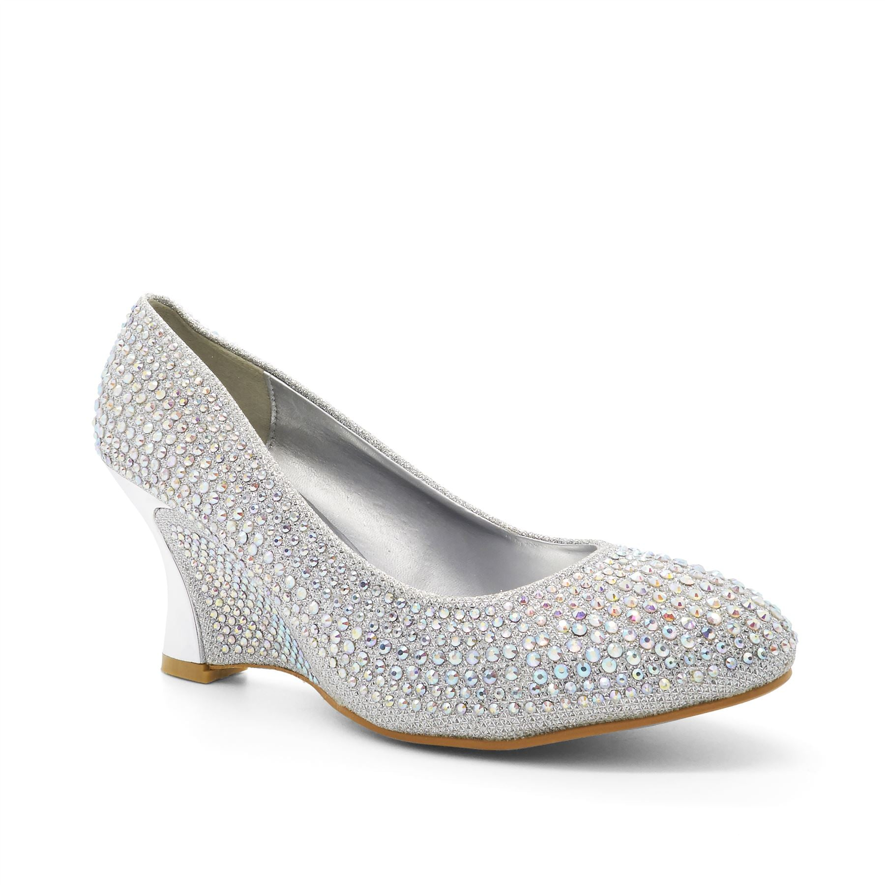 Silver Diamante Almond Toe Wedge Heel