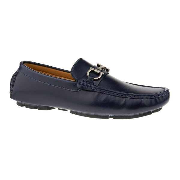 Navy Leather Look Buckle Driving Shoes