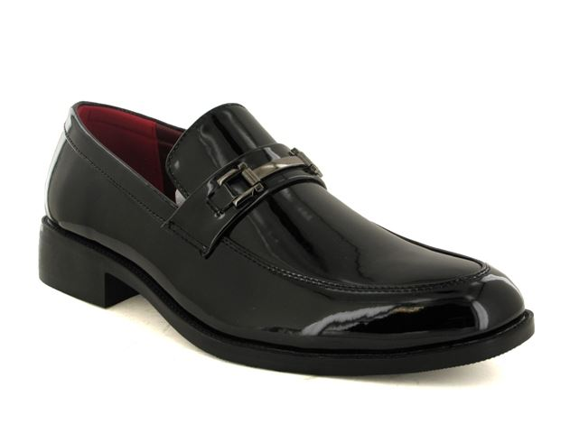 Black Patent Buckle Slip On Shoes