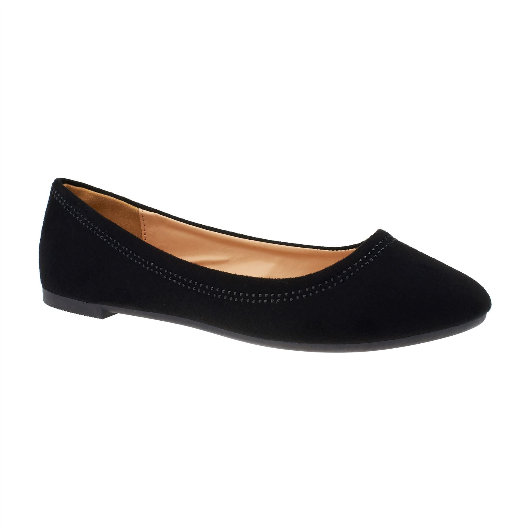 Black Faux Suede Diamante Ballet Flats