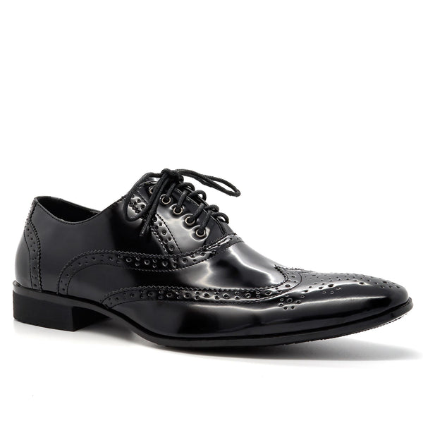 Black Hi Shine Brogue Oxford Shoes