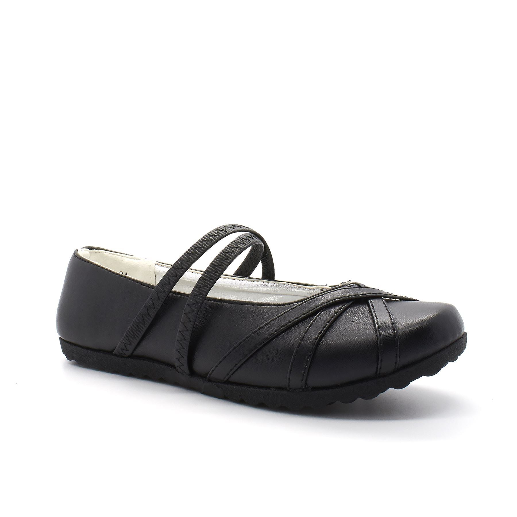 Black Faux Leather Round Toe Slip On