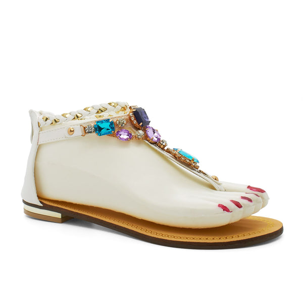 White Faceted Jewelled Flat Sandals