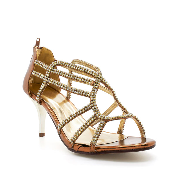 Bronze Diamante Caged Heeled Sandals