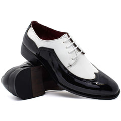 Black & White Brogue Detail Derby Shoes