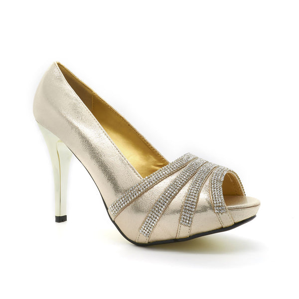 Champagne Metallic Satin Open Toe High Heel