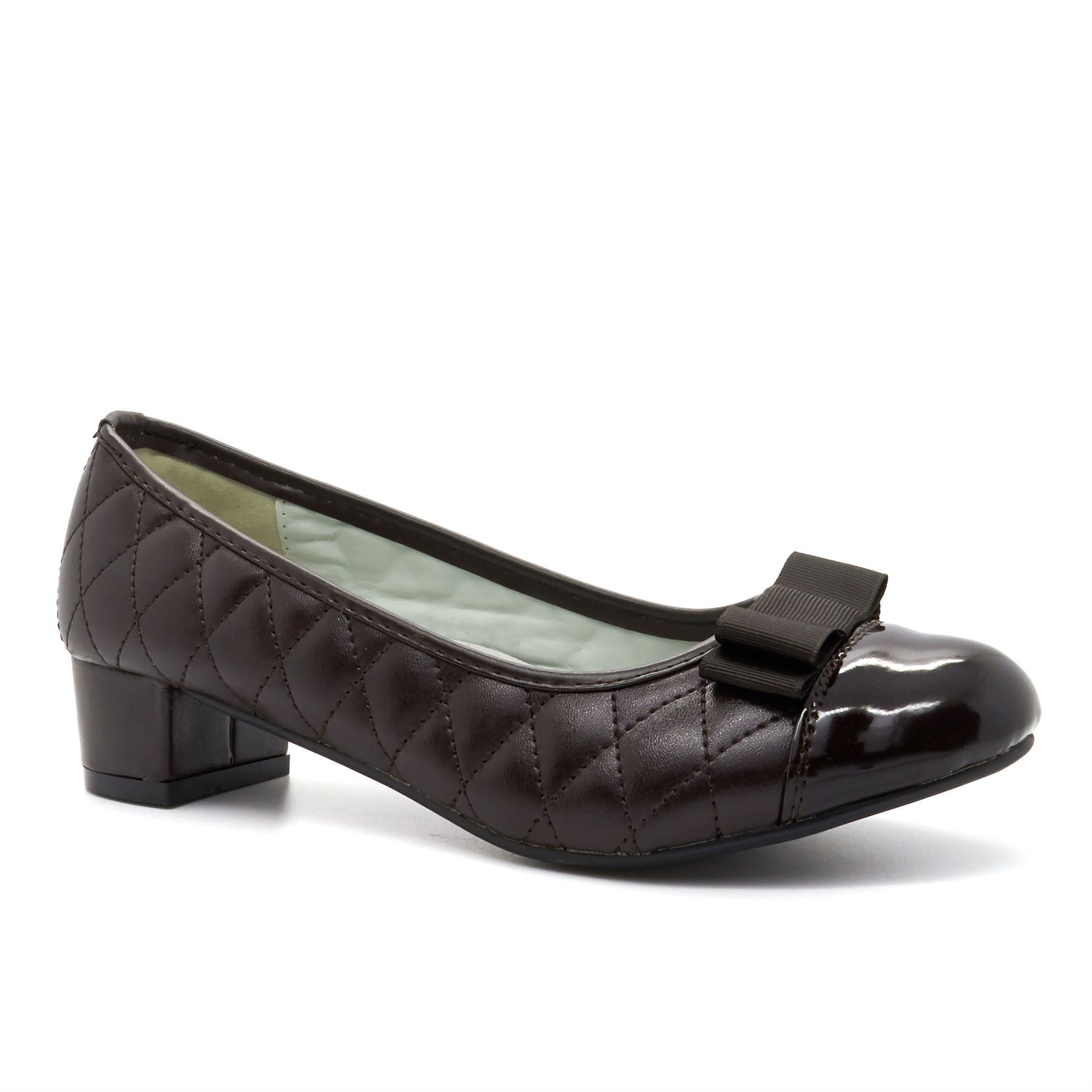 Brown Quilted Block Heeled Court Shoes
