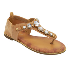Beige Jewelled T-Bar Flat Sandals