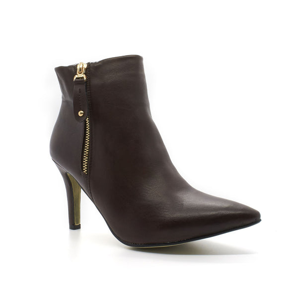 Brown Faux Leather Pointed Ankle Boot