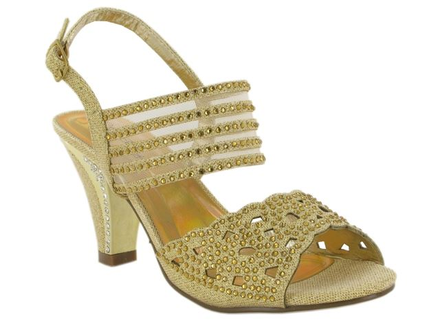 Gold Laser Cut Heeled Sandals
