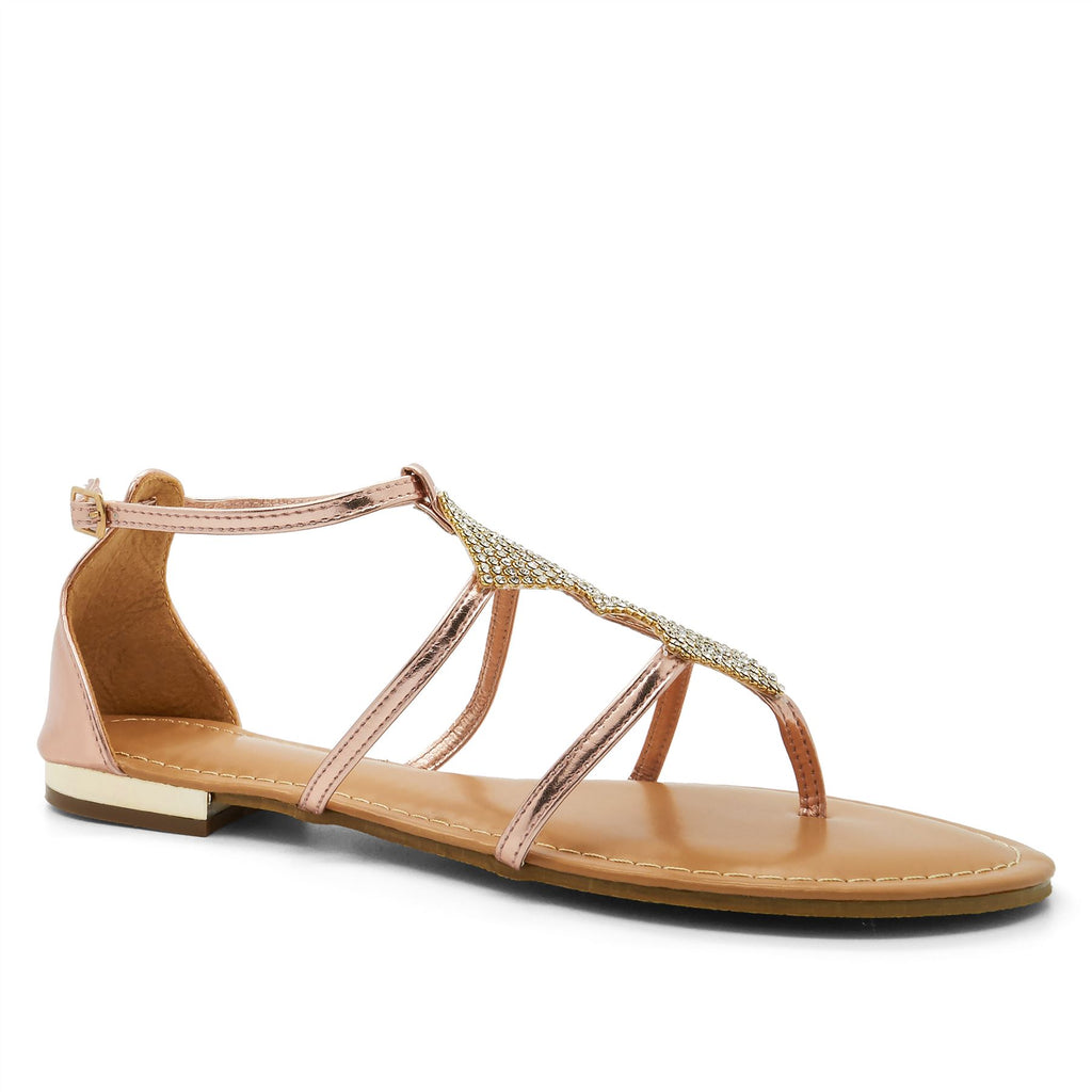 1e7c2d6f89f0 Rose Gold Metallic Embellished Flat Sandals. London Footwear. No reviews.  SKU  102913. Availability  1 in stock