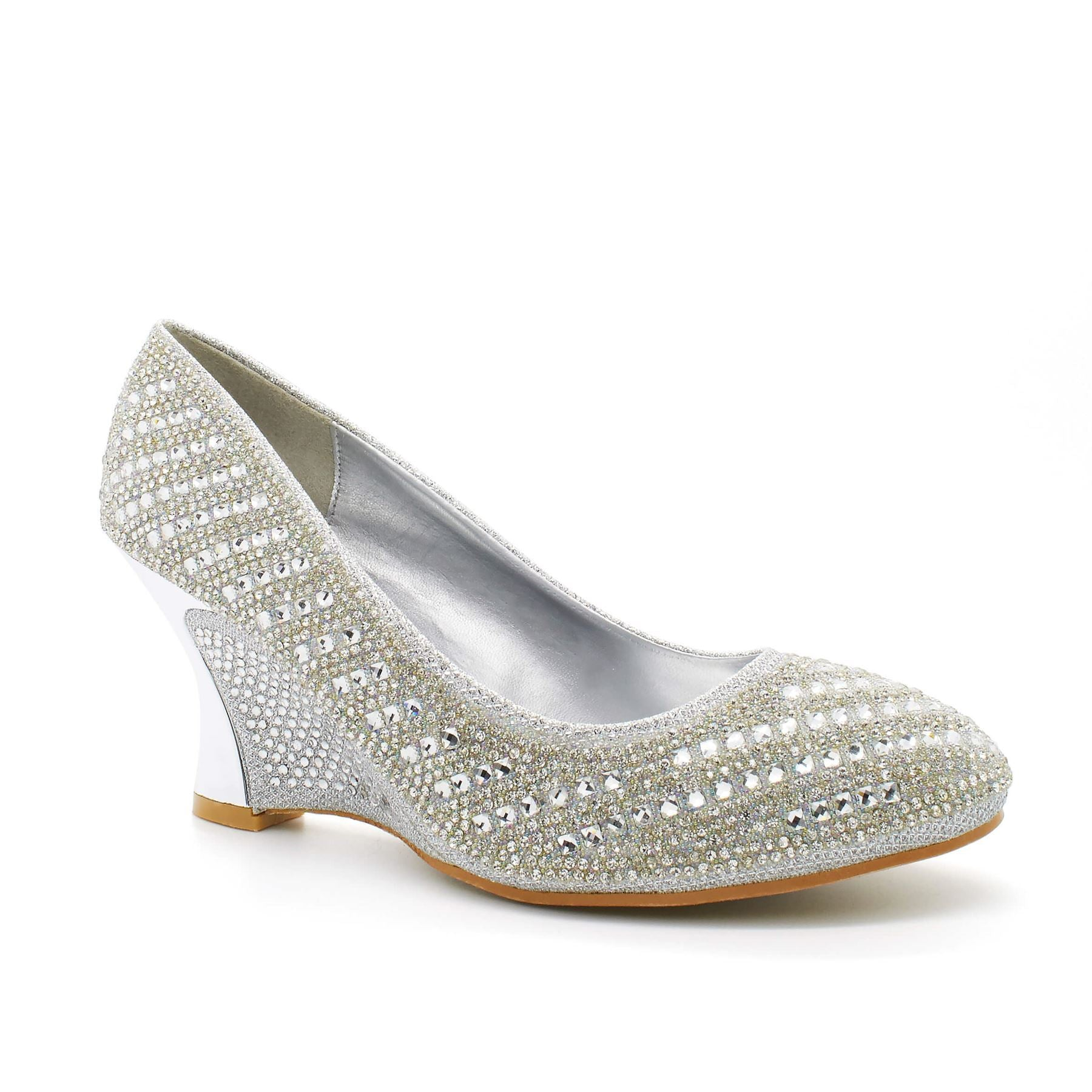 Silver Diamante Almond Toe Wedge