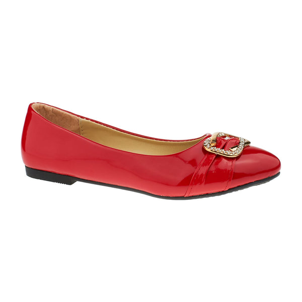Red Vinyl Diamante Ballet Flats