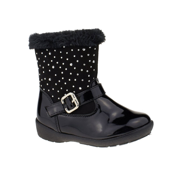 Black Vinyl Diamante Ankle Boots
