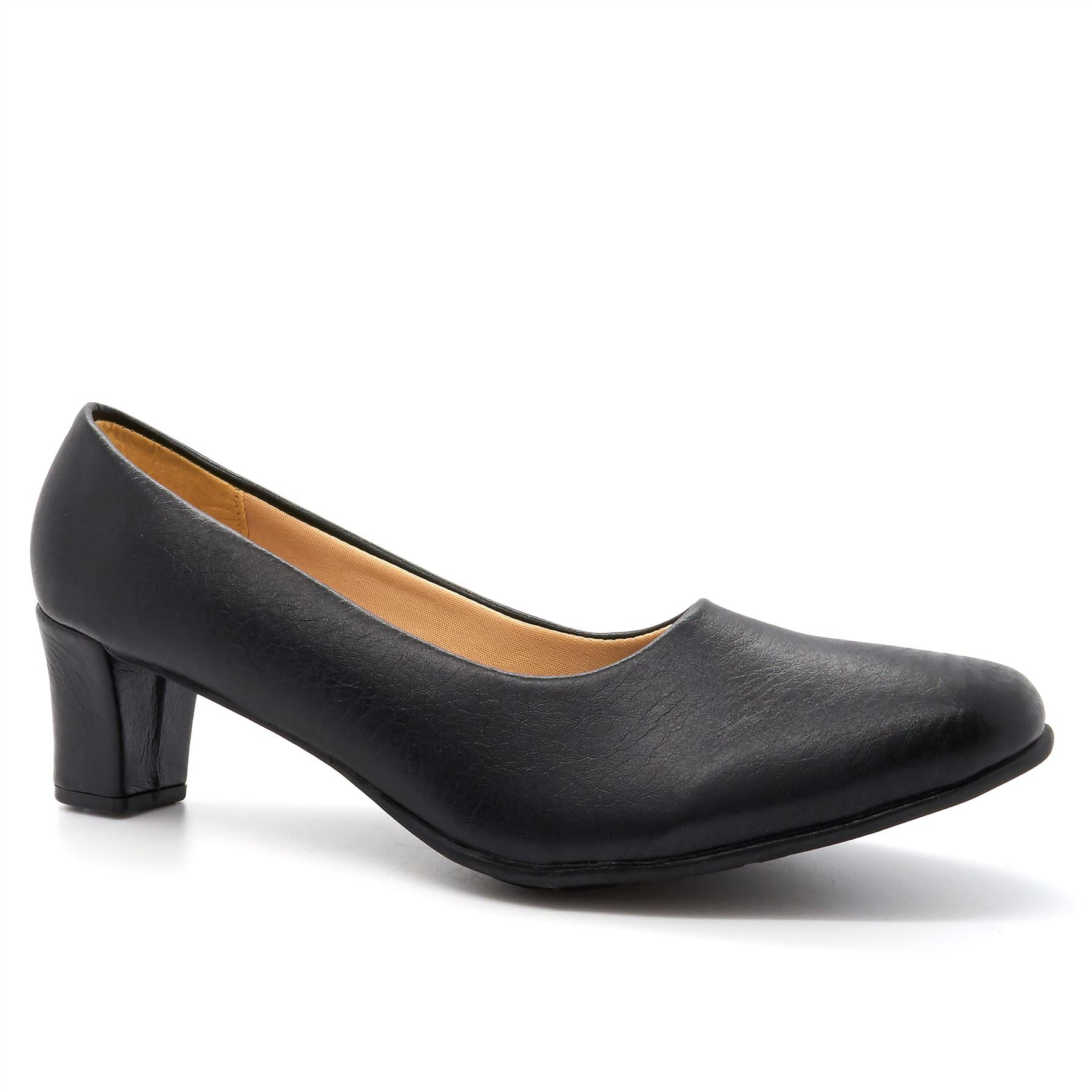 Black Block Heeled Court Shoes