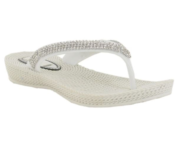 White Diamante Wedge Heeled Flip Flops
