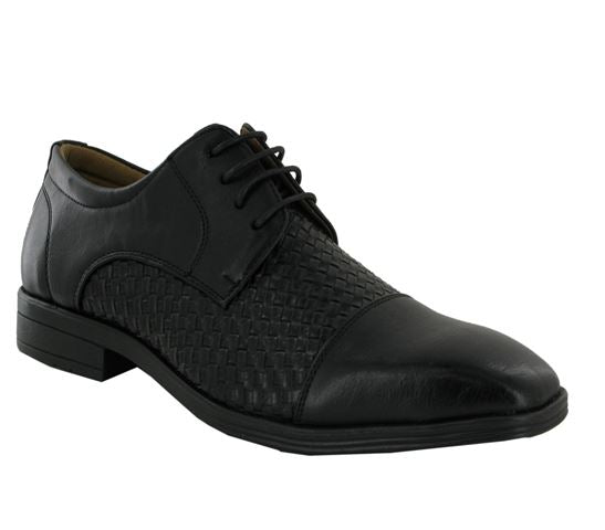 Black Woven Style Derby Shoes