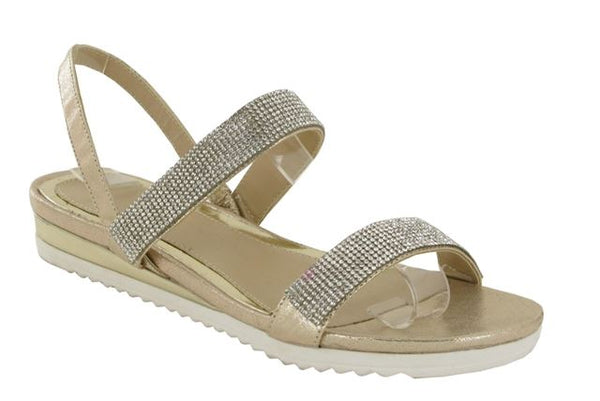 Gold Cleated Sole Flat Sandals