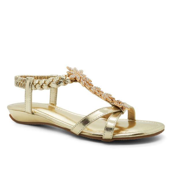 Gold Metallic Floral Heeled Sandals