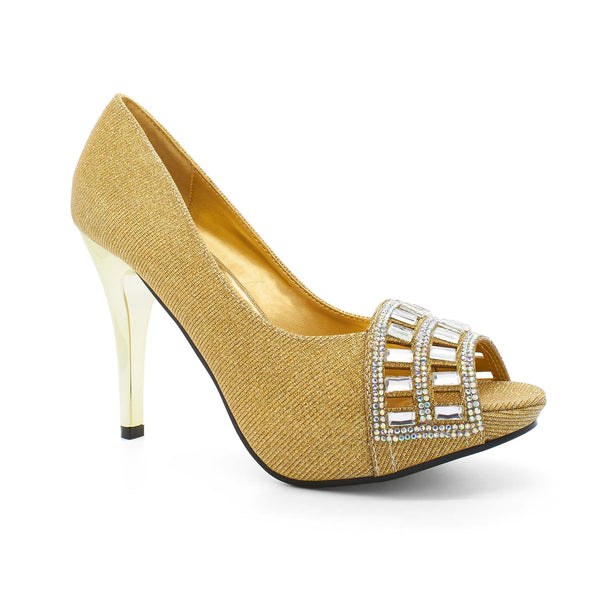Gold Diamante Laser Cut Court Shoes