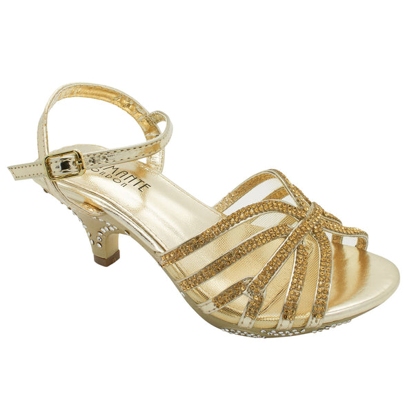 Gold Faceted Jewelled Kitten Heeled Sandals