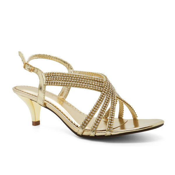 Gold Metallic Embellished Kitten Sandals