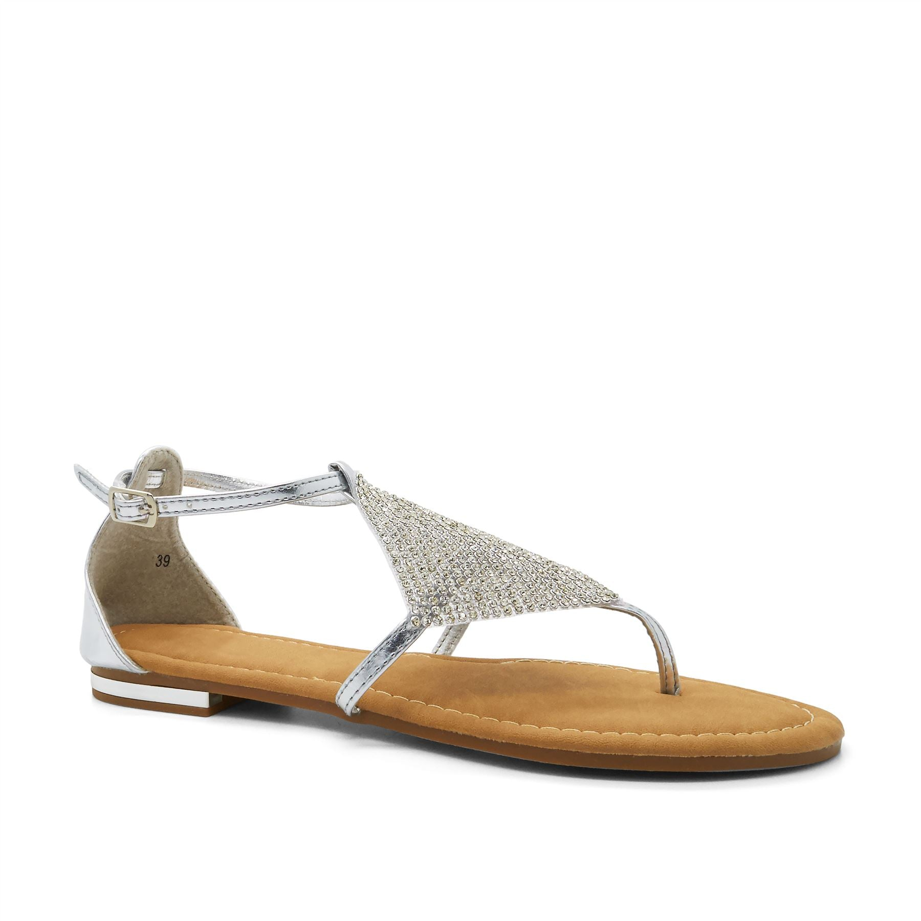 Silver Metallic Diamante Flat Sandals