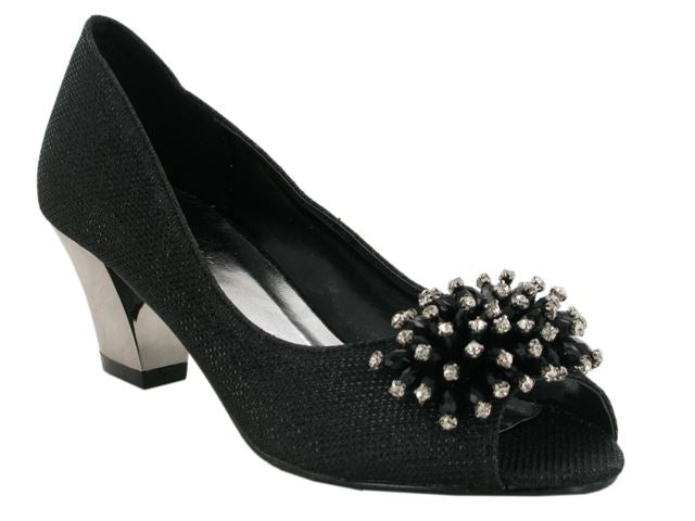 Black Flower Detail Block Heeled Court Shoes
