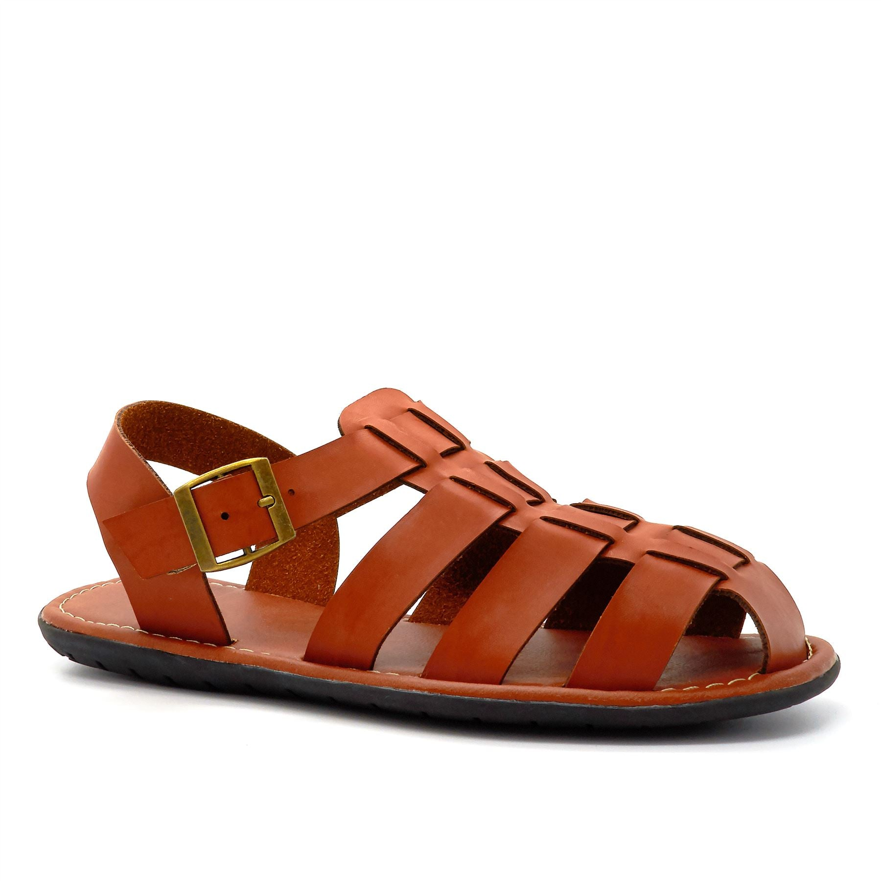 Tan Leather Look Fisherman Sandals