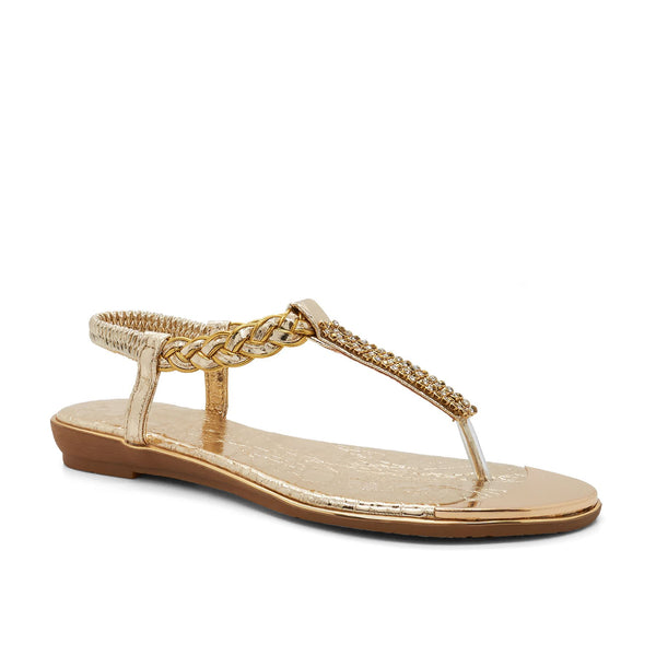 Gold Embellished T-Bar Flat Sandals