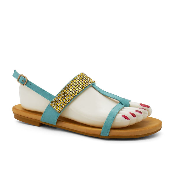 Blue Embellished T-Bar Flat Sandals