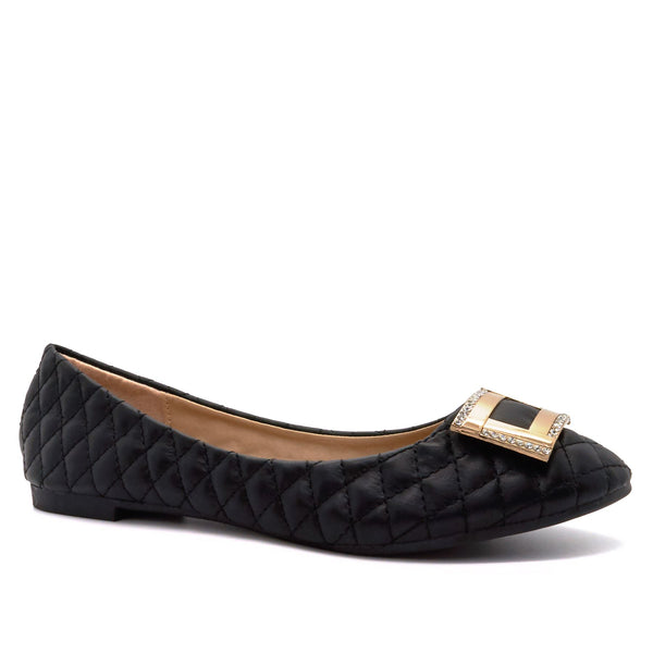 Black Quilted Diamante Ballet Flats