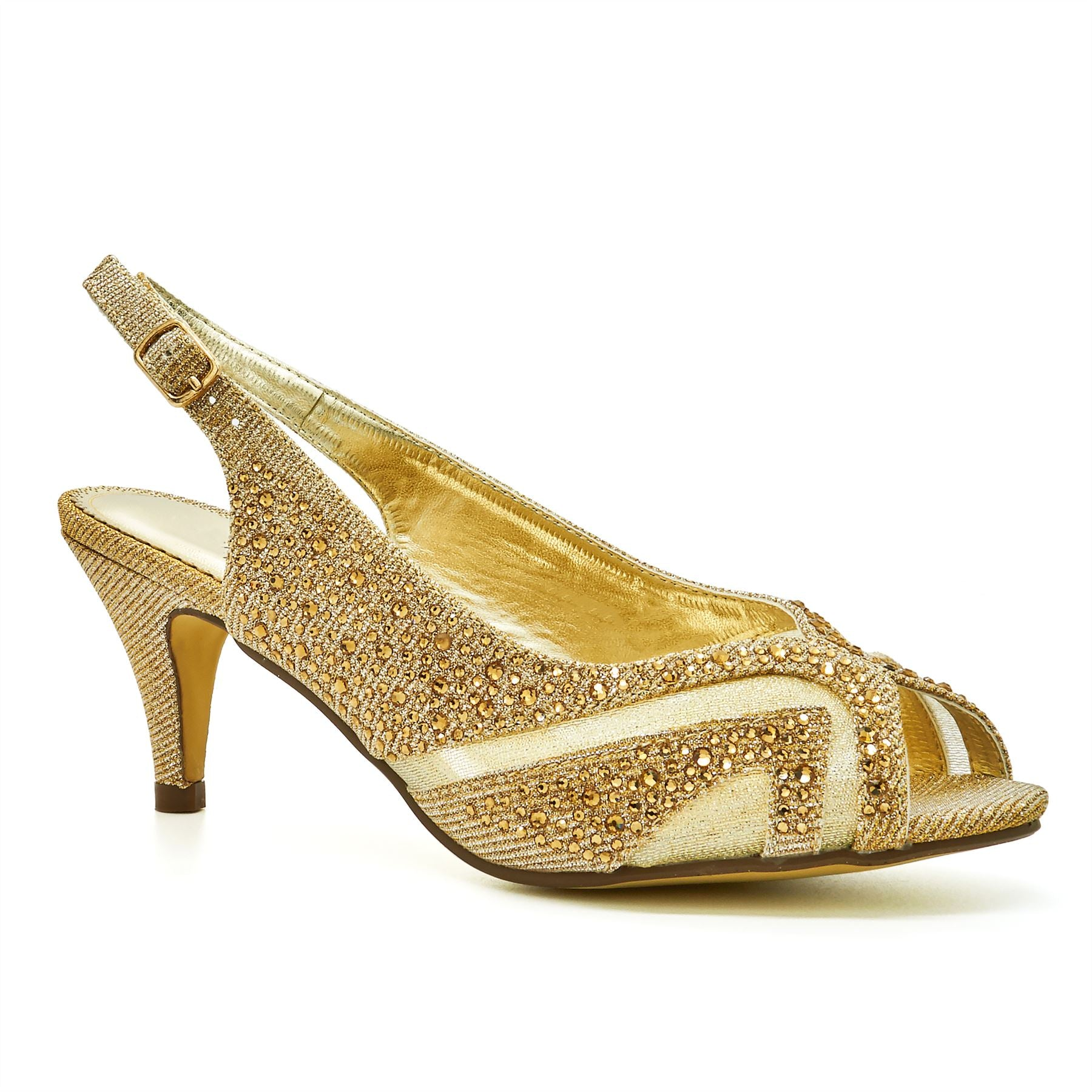 Gold Peep Toe Kitten Heeled Sandals