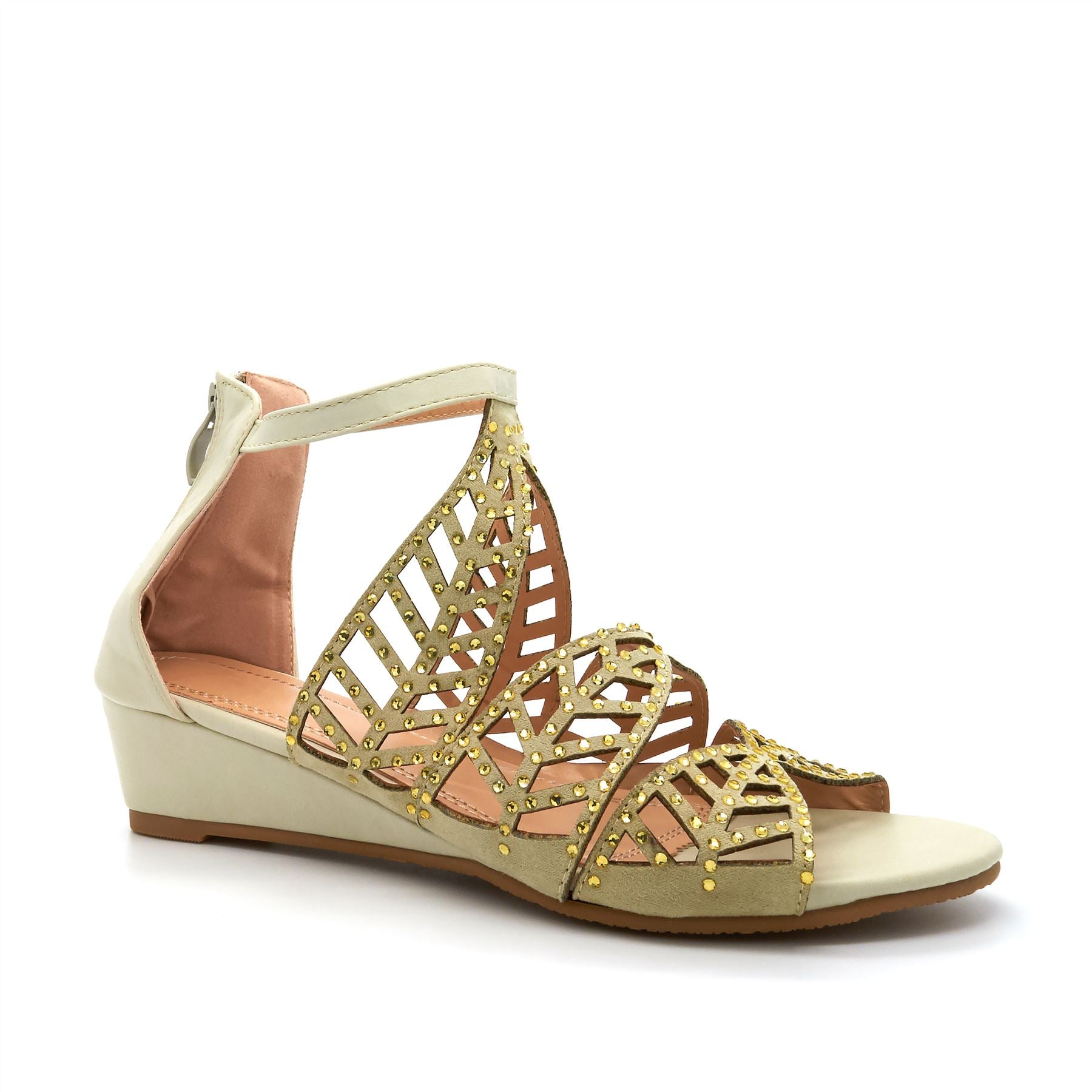 Beige Embellished Wedge Sandals