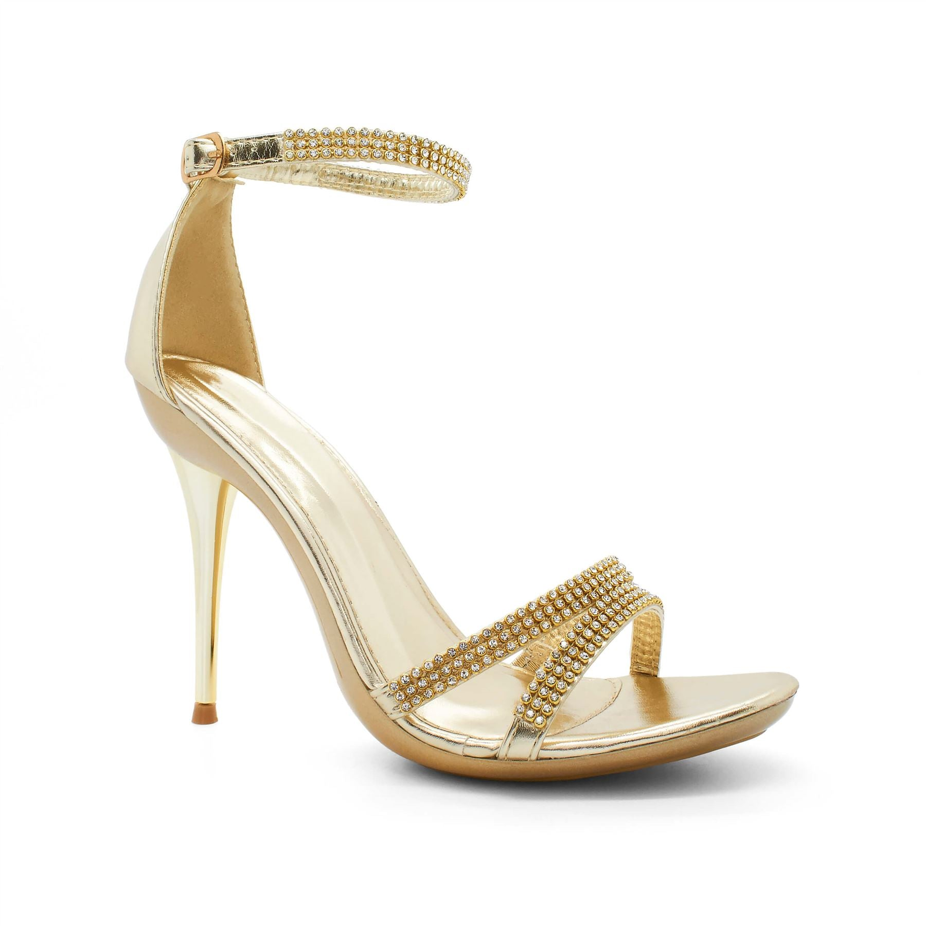 Gold Diamante Barely There Heels