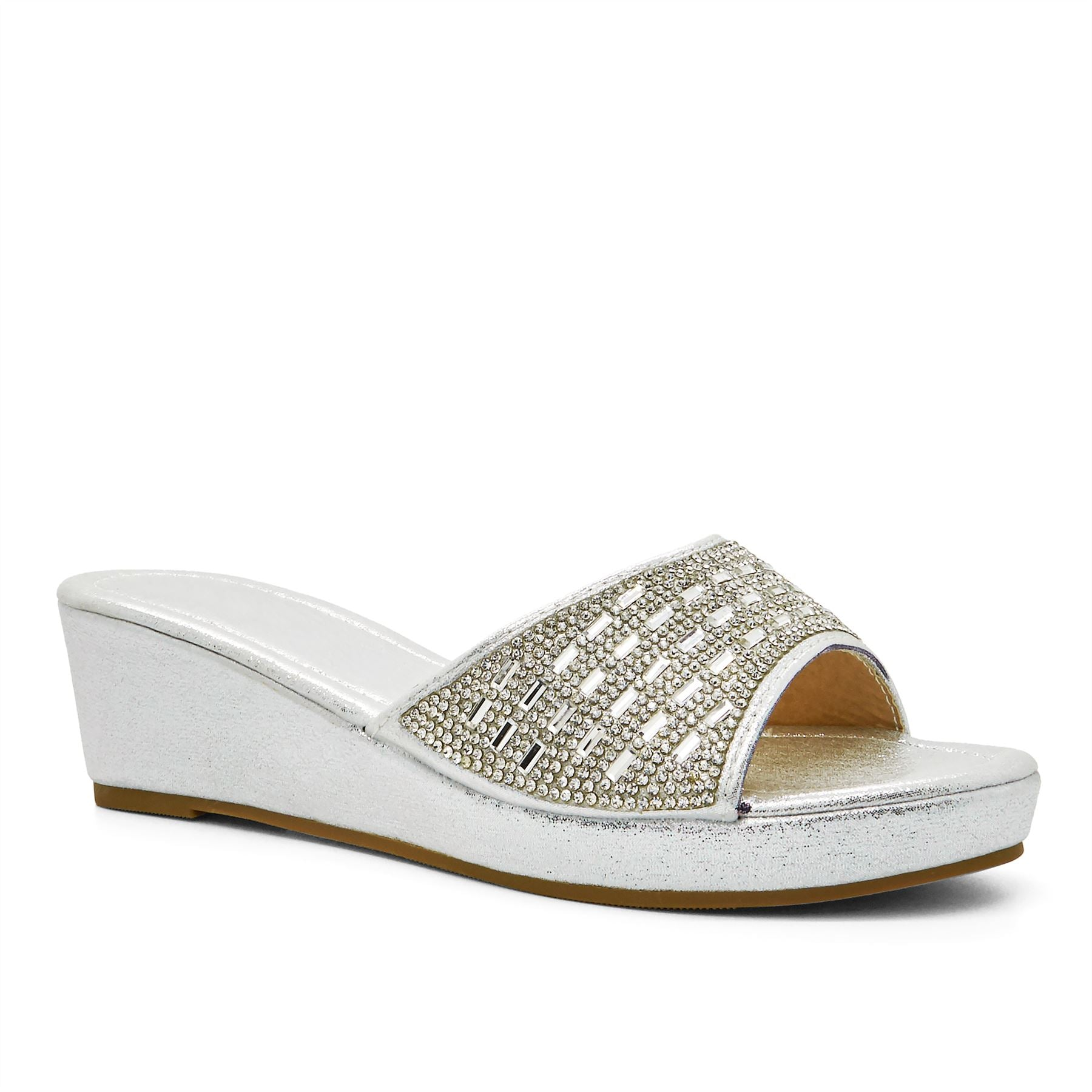 Silver Shimmer Diamante Wedge Mules