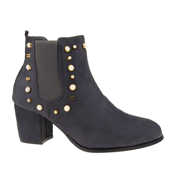 Grey Suedette Stud Detail Heeled Boots