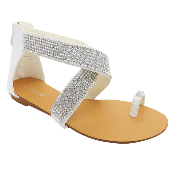White Diamante Cross Strap Flat Sandals
