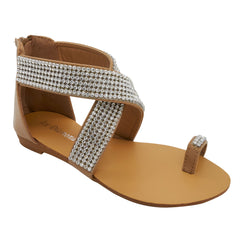 Beige Diamante Cross Strap Flat Sandals