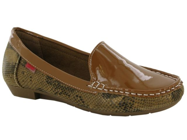 Brown Patent Snake Print Loafers