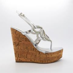 Silver Diamante Wedge Platform Sandals