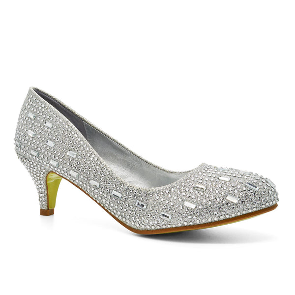 Silver Diamante Kitten Heeled Court Shoes