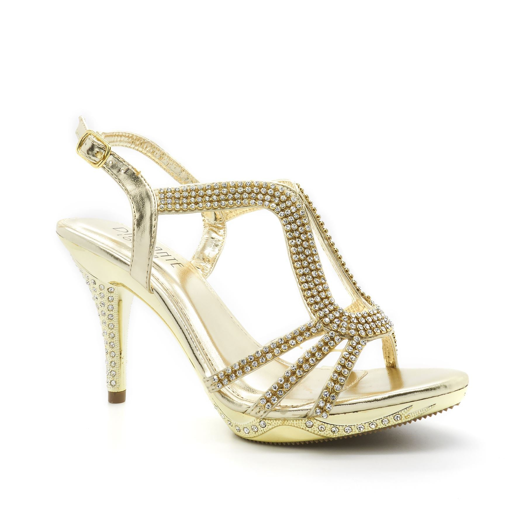 Gold Diamante Strap High Heel