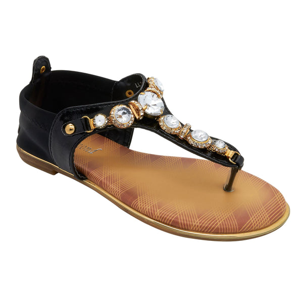Black Jewelled T-Bar Flat Sandals