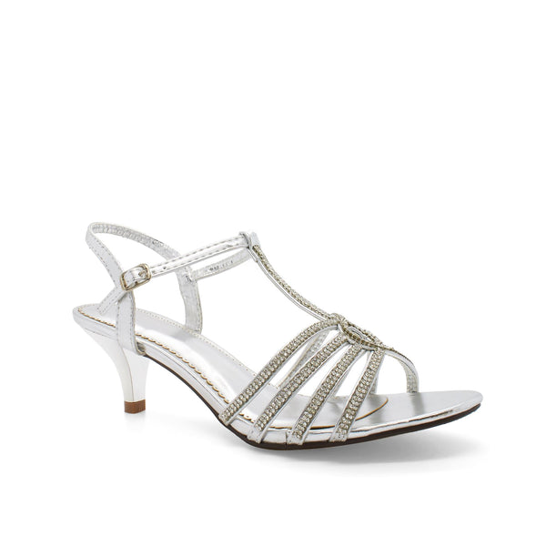 Silver Diamante Open Toe Low Heel
