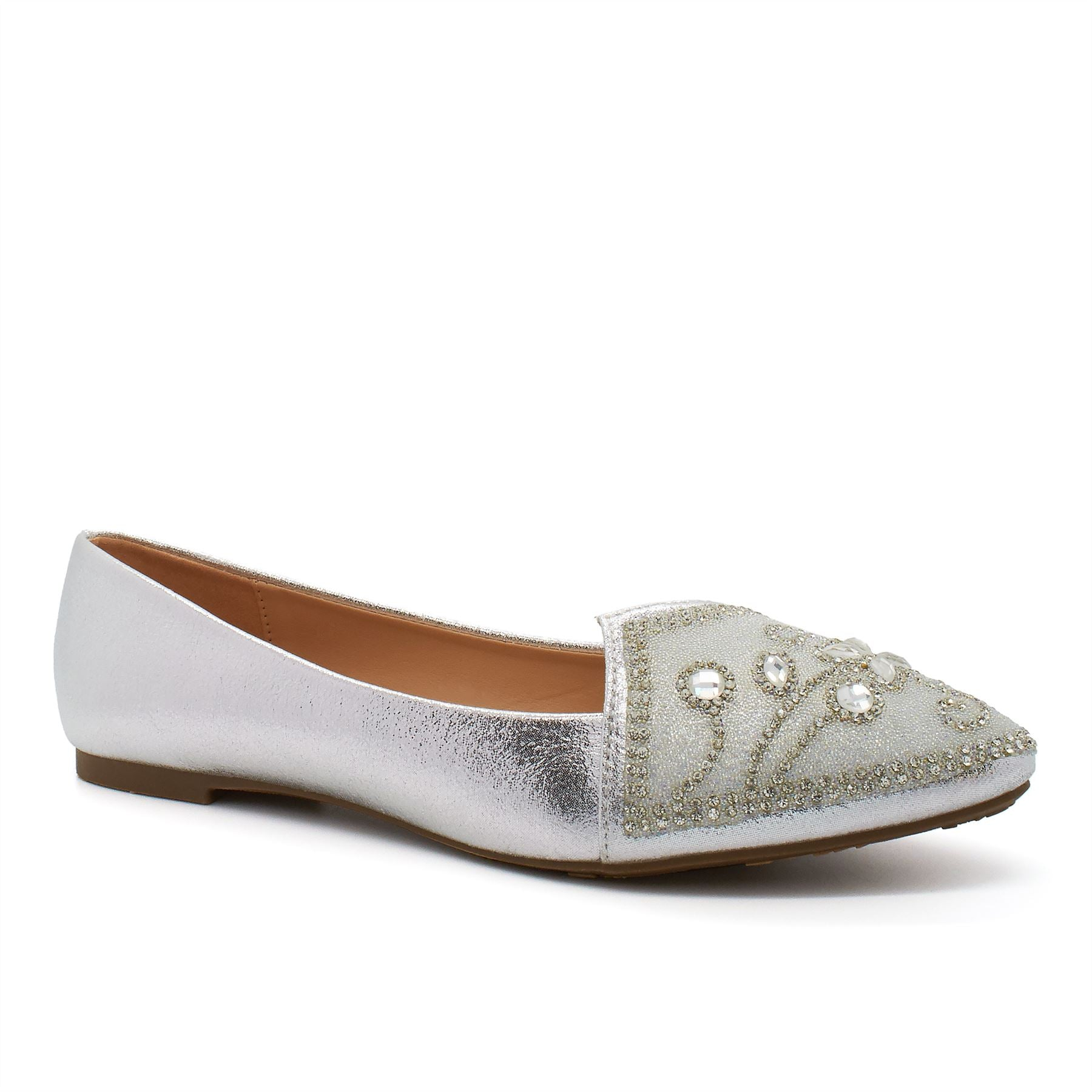 Silver Pointed Ballet Flats