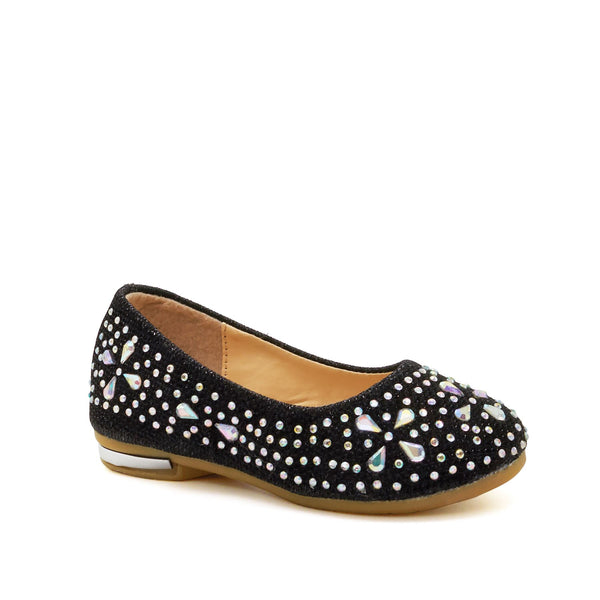 Black Diamante Embellished Ballet Flats