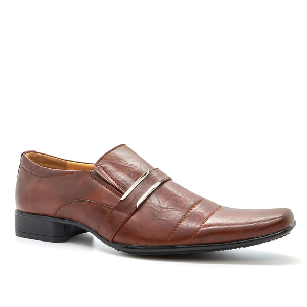 Brown Buckle Detail Slip On Shoes
